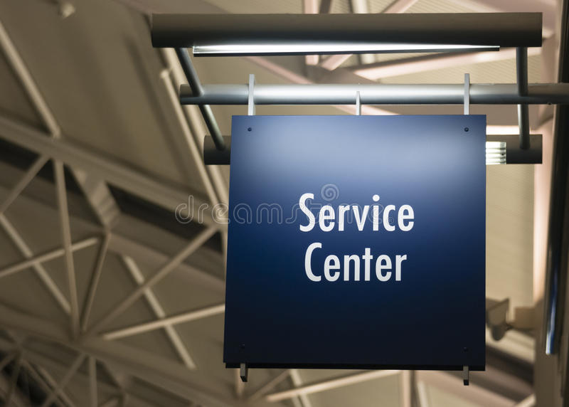 Customer Service Center Sign Marker Public Building Architecture. Blue Signage Marks the Customer Service Center in a Public Building Shoipping Structure stock photos