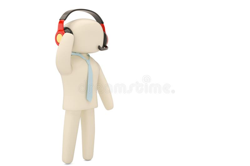 Customer service character with headset isolated on white.3D ill royalty free illustration
