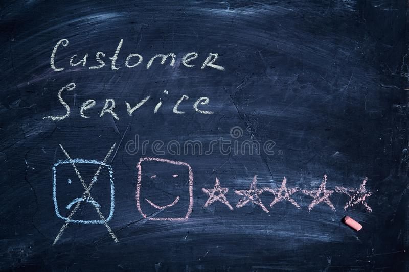 Customer service and client support concept. Rating and rate. Smiley, nscription and five stars. Customer service and client support concept. Rating and rate stock images