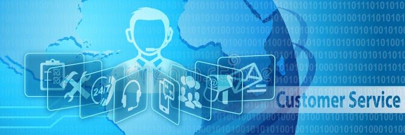 Customer Service Communication Banner stock illustration