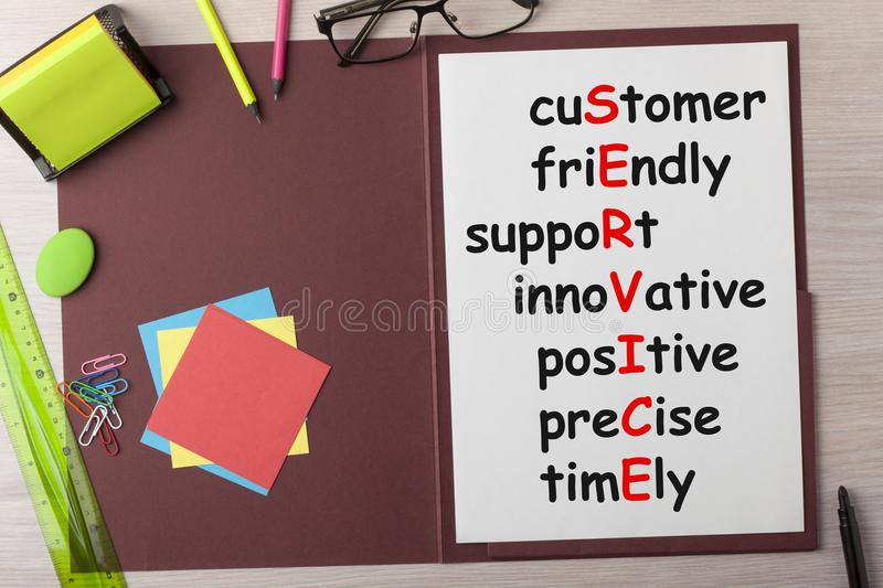 Customer Service Concept. Customer SERVICE written on paper sheet in presentation folder and various stationery. Business concept stock photography