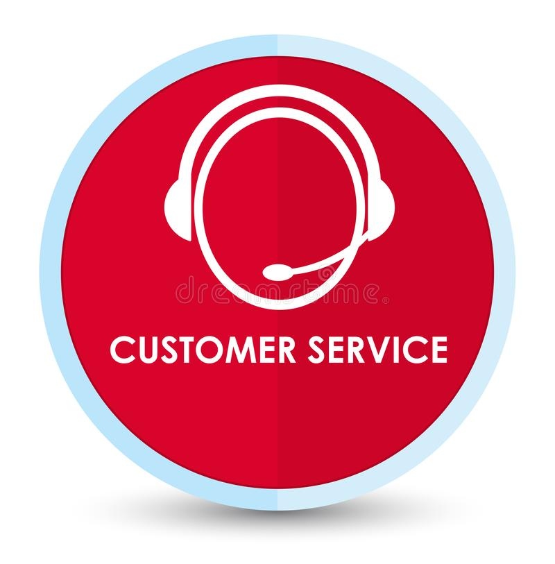 Customer service (customer care icon) flat prime red round button. Customer service (customer care icon) isolated on flat prime red round button abstract vector illustration