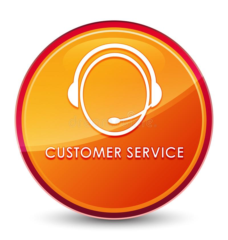 Customer service (customer care icon) special glassy orange round button. Customer service (customer care icon) isolated on special glassy orange round button royalty free illustration