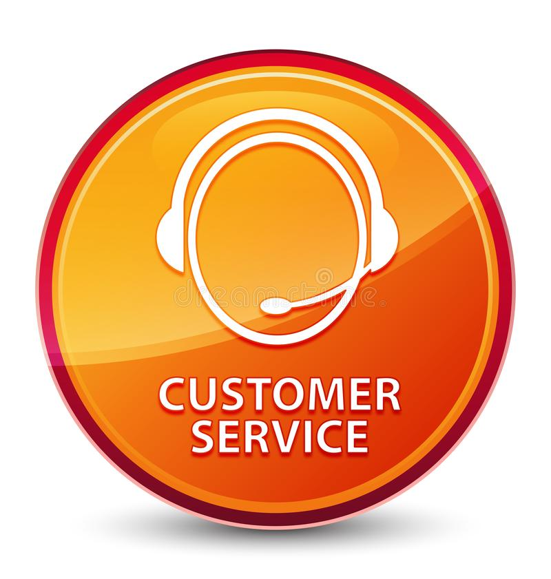 Customer service (customer care icon) special glassy orange round button. Customer service (customer care icon) isolated on special glassy orange round button vector illustration