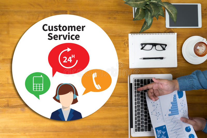 THE CUSTOMER SERVICE and Customer Service Call Center Agent Care stock photos