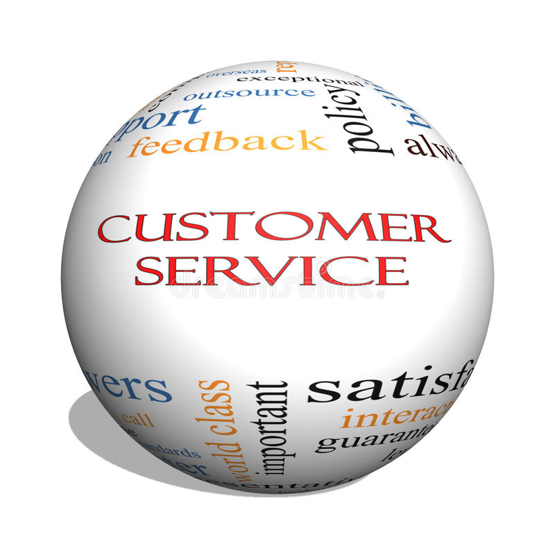 Customer Service 3D sphere Word Cloud Concept royalty free illustration
