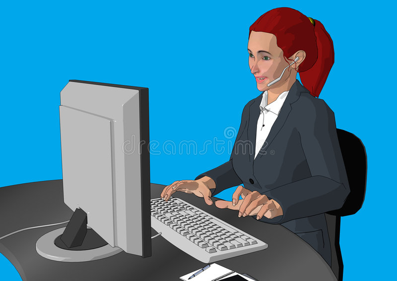 Customer Service Girl. Cartoon style business person in action