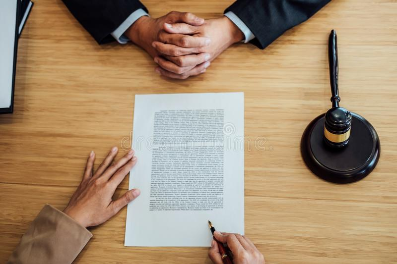 Customer service good cooperation, Consultation between a Businesswoman and Male lawyer or judge consult having team meeting with. Client, Law and Legal stock photography
