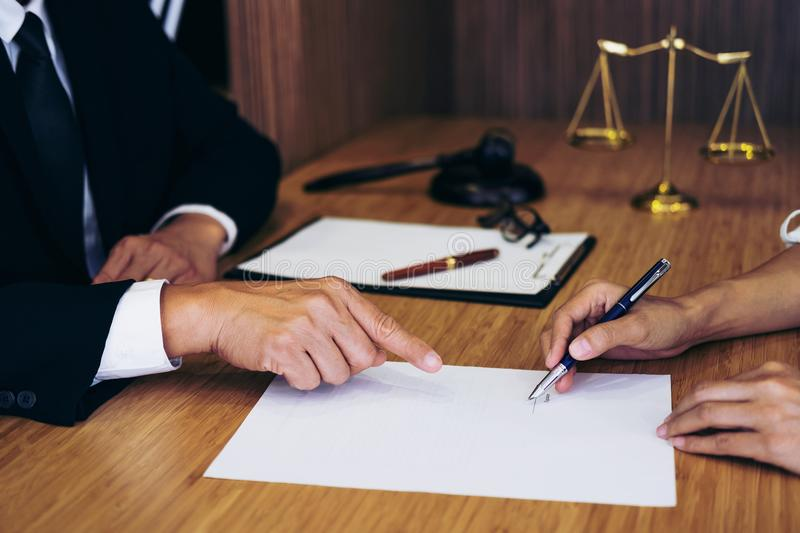 Customer service good cooperation, Consultation between a male l. Awyer and business people customer, tax and the company of real estate concept royalty free stock photo