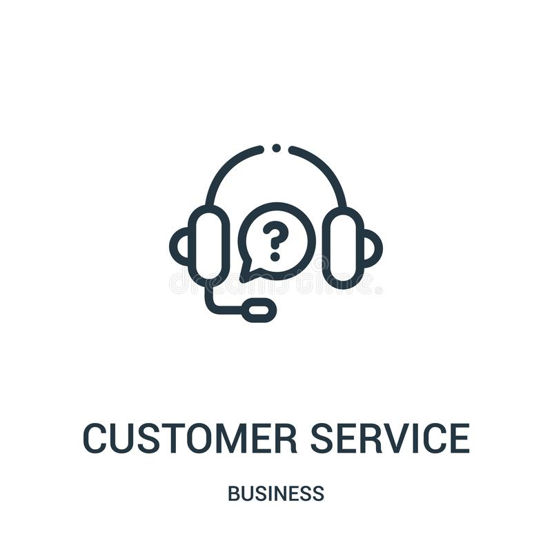Customer service icon vector from business collection. Thin line customer service outline icon vector illustration. Linear symbol. For use on web and mobile royalty free illustration
