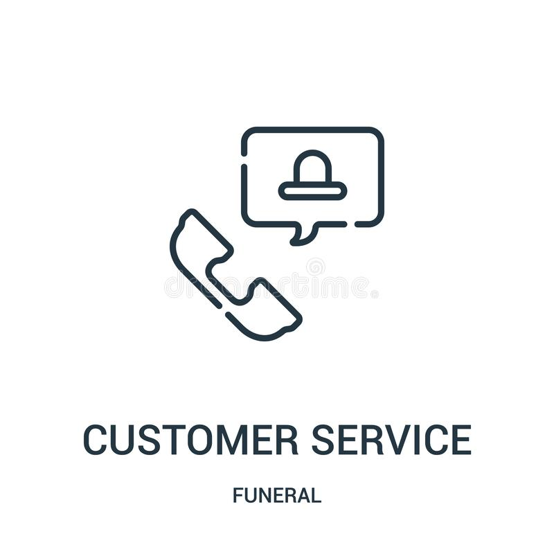 Customer service icon vector from funeral collection. Thin line customer service outline icon vector illustration. Linear symbol. For use on web and mobile apps royalty free illustration