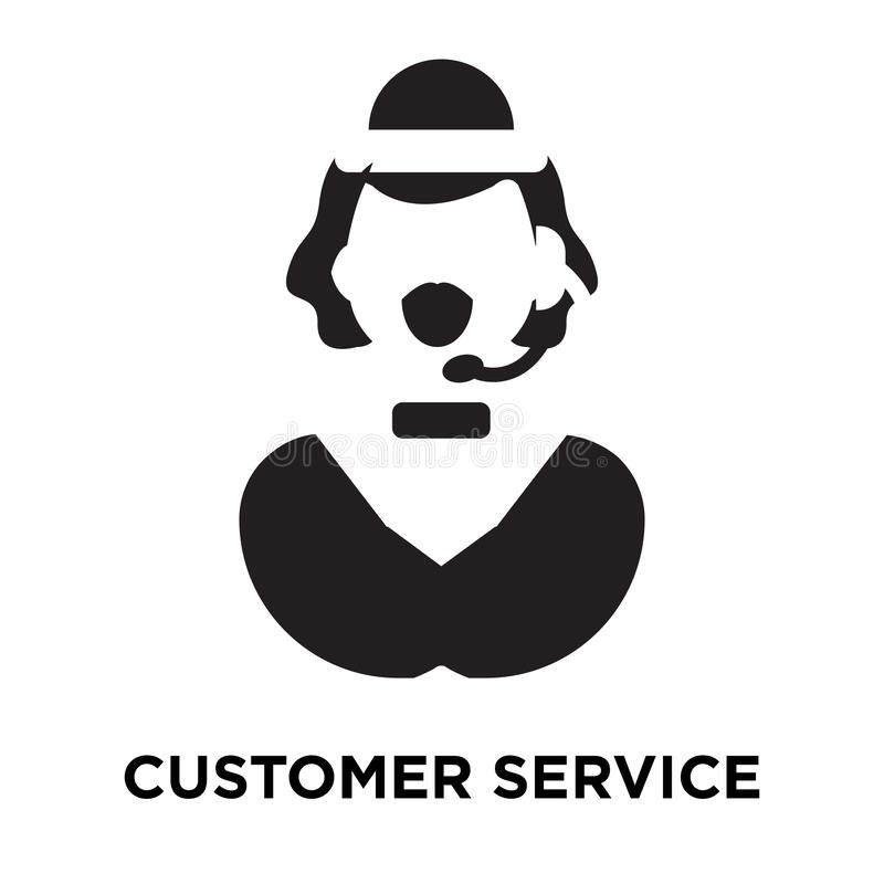 Customer service icon vector isolated on white background, logo. Concept of Customer service sign on transparent background, filled black symbol stock illustration