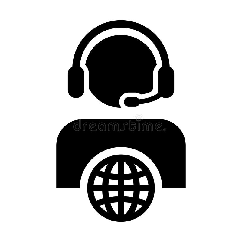 Customer service icon vector male person profile symbol with headset for internet network online support. In glyph pictogram illustration royalty free illustration