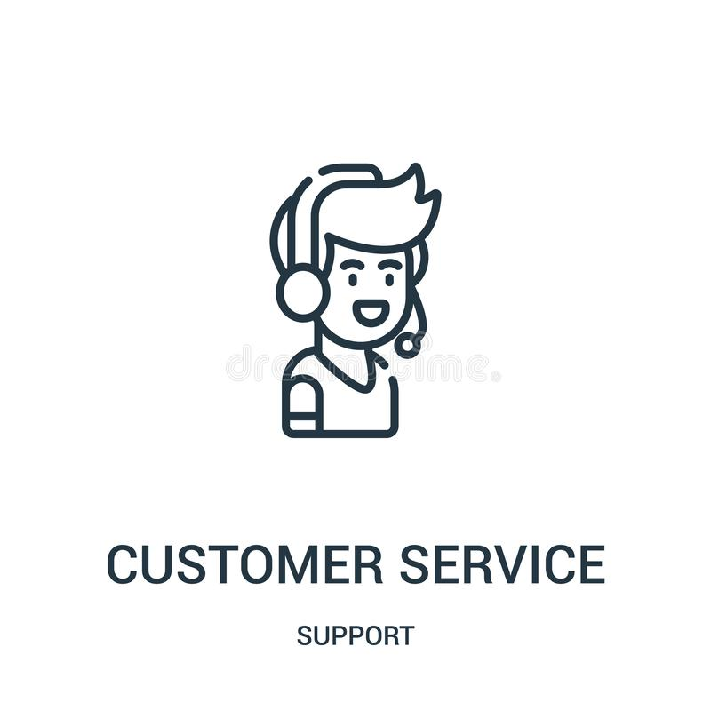Customer service icon vector from support collection. Thin line customer service outline icon vector illustration. Linear symbol. For use on web and mobile apps vector illustration