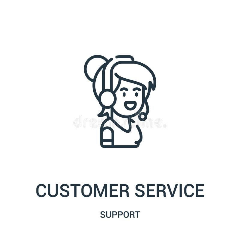 Customer service icon vector from support collection. Thin line customer service outline icon vector illustration. Linear symbol. For use on web and mobile apps royalty free illustration