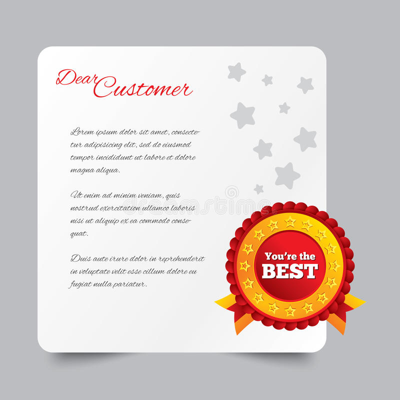 Customer Service Letter. Thank You For Buying. Royalty Free Stock