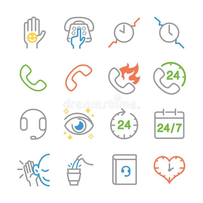 Customer service line icons royalty free illustration
