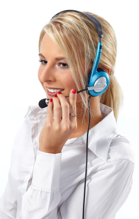 Customer Service Operator-Isolated White Stock Photography