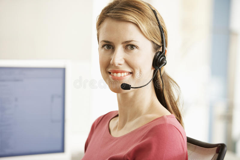 Customer Service Operator Wearing Headset royalty free stock images