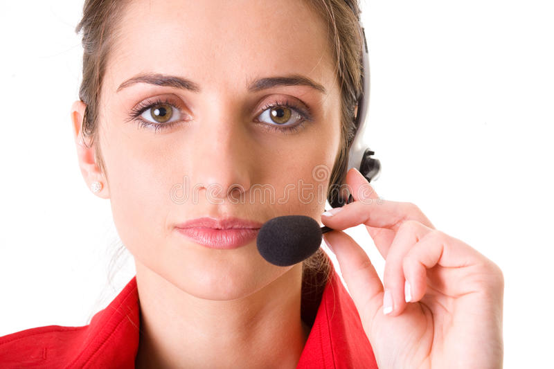 Customer Service Operator At Work, Isolated Stock Photography