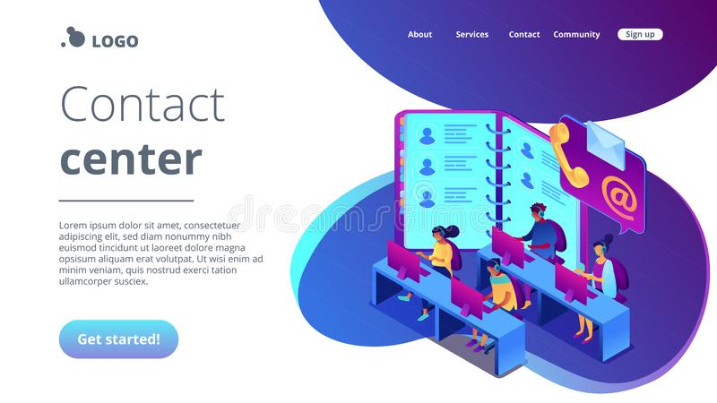 Contact center isometric 3D landing page. Customer service operators in headsets, phone and email contacts. Contact center, customer service point, customer royalty free illustration