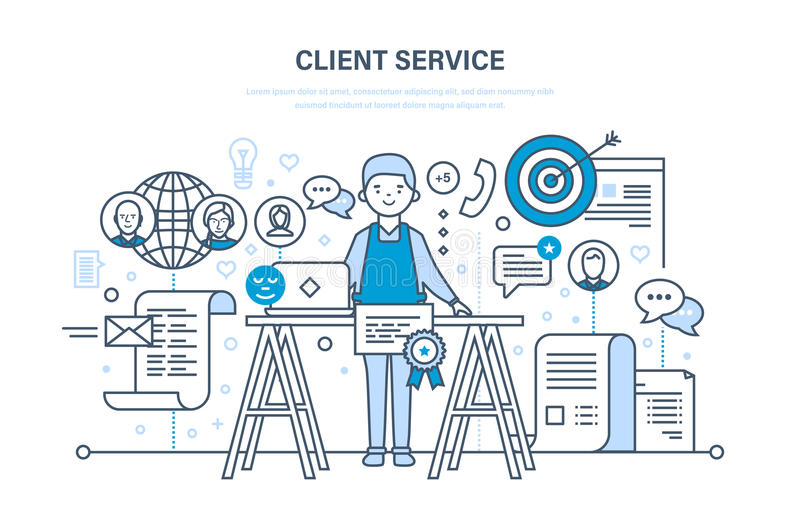 Customer service, problem solving, communication and communication, technical support. Customer and client service, problem solving, information technology and royalty free illustration