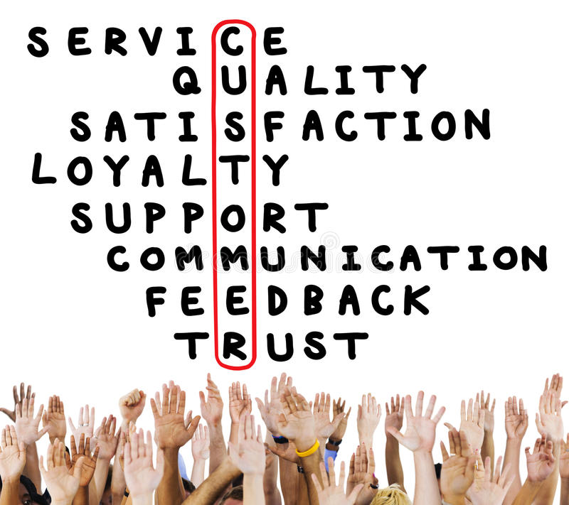 Customer Service Quality Satisfaction Crossword Puzzle Concept stock image