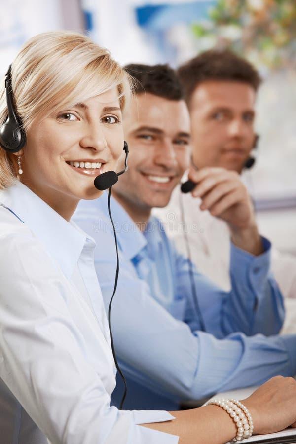 Customer service receicving calls stock photo