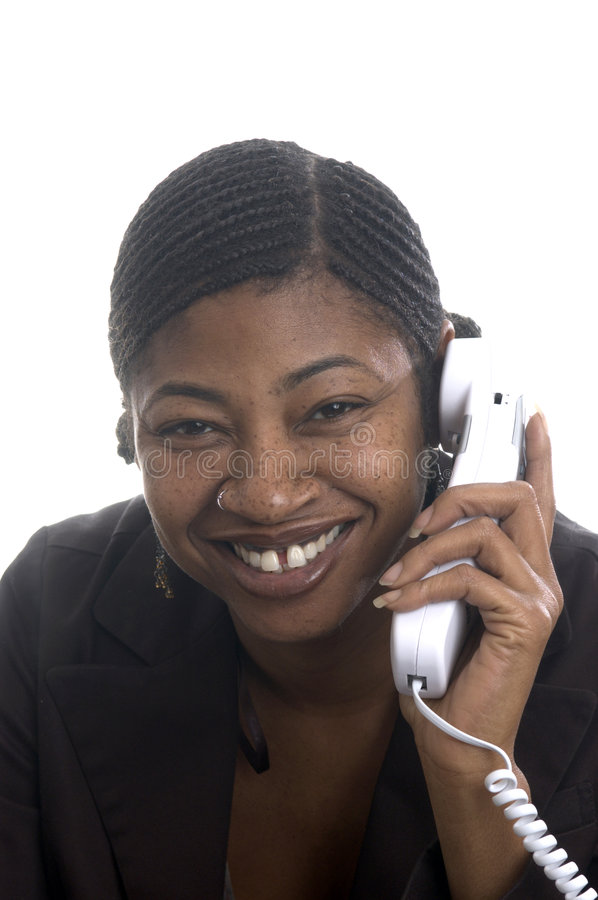 Customer service represenatative beautiful smiling on phone royalty free stock images