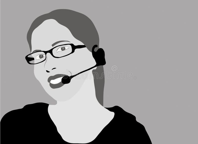 Customer service representative - grayscale vector illustration