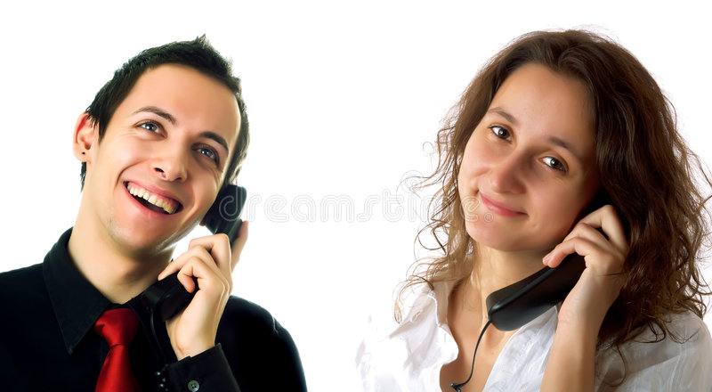 Customer Service Representative Lady And Guy Stock Images