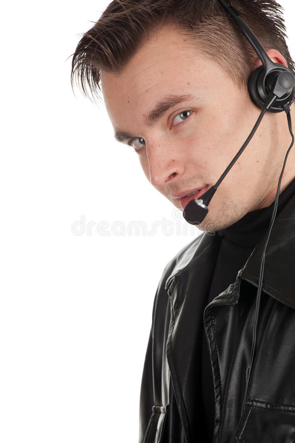 Customer Service Representative Man In Headset Royalty Free Stock Photos