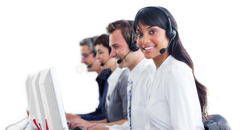 Download Customer Service Representatives With Headset On Stock Image - Image: 12937169