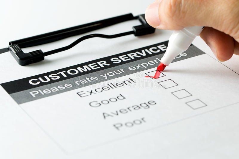 Customer service satisfaction survey form royalty free stock photo