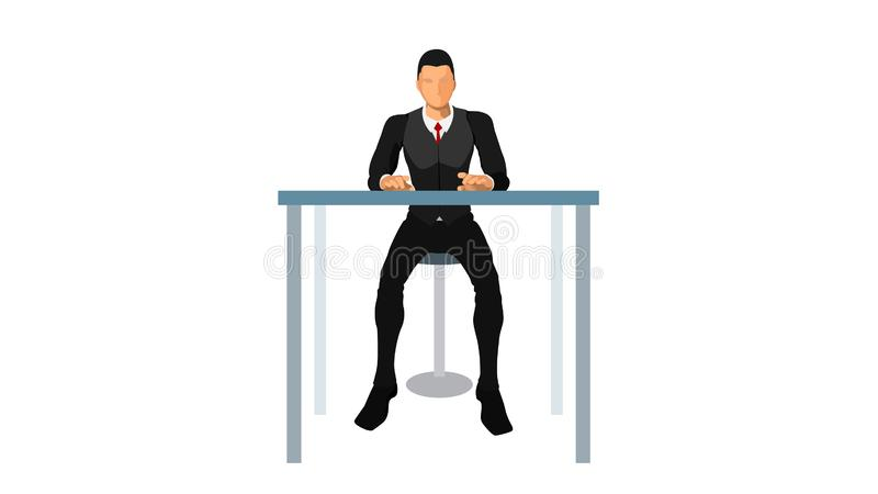 Customer service sit alone vector illustration