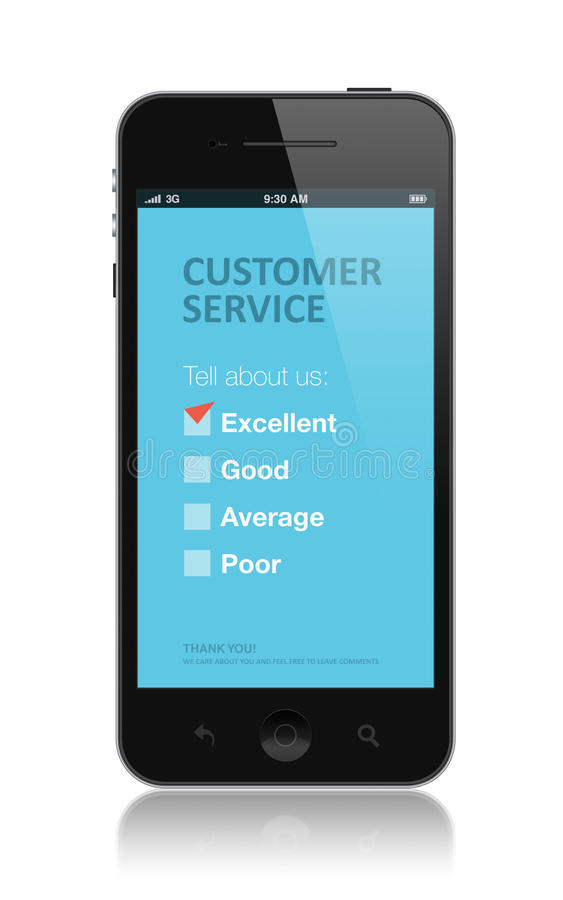 Customer service survey application stock image