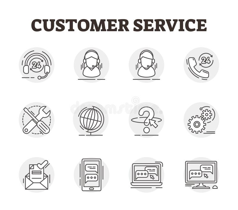 Customer service vector icon collection set illustration. Outlined helpdesk stock illustration