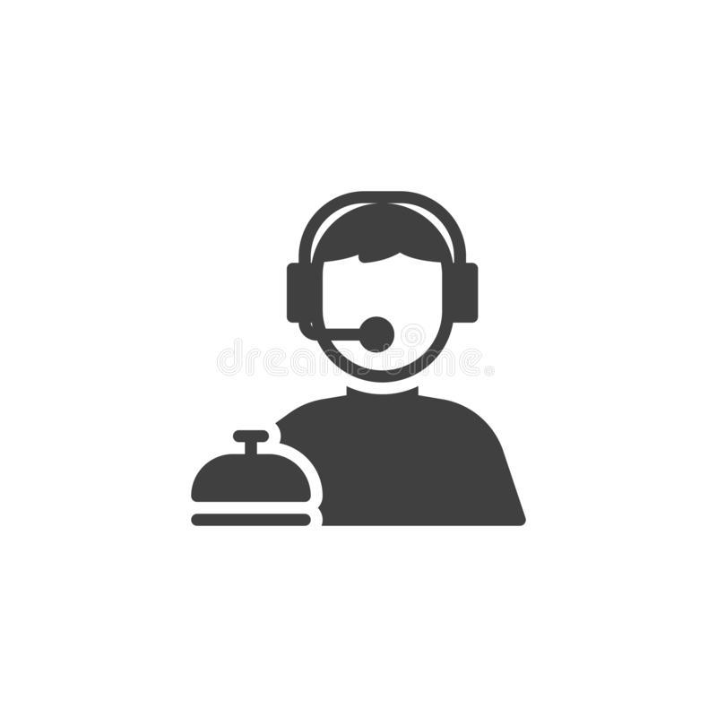 Customer service vector icon. Call Center operator filled flat sign for mobile concept and web design. Man with headphones glyph icon. Symbol, logo stock illustration