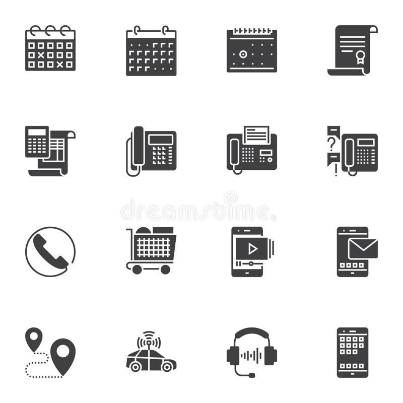 Customer service vector icons set. Modern solid symbol collection, filled style pictogram pack. Signs, logo illustration. Set includes icons as calendar stock illustration