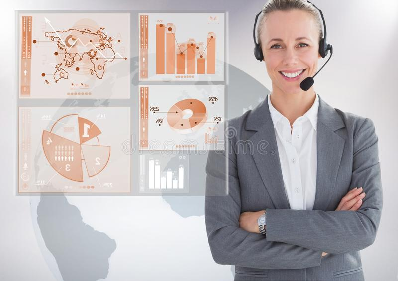 Customer service woman with world map interface in background royalty free stock image