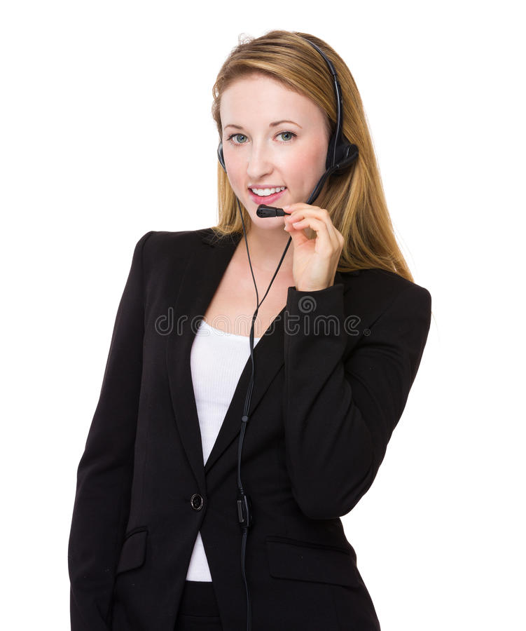 Customer services officer portrait. Isolated on white background stock images
