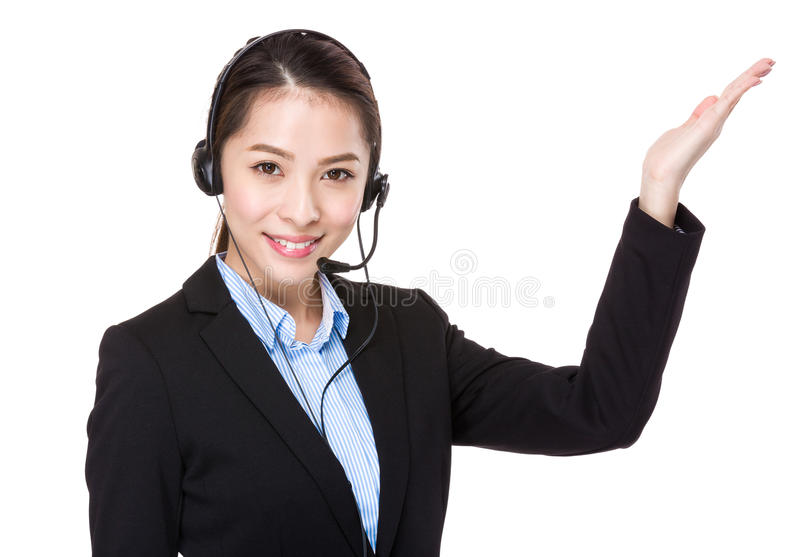 Customer services operator with hand presentation stock photos