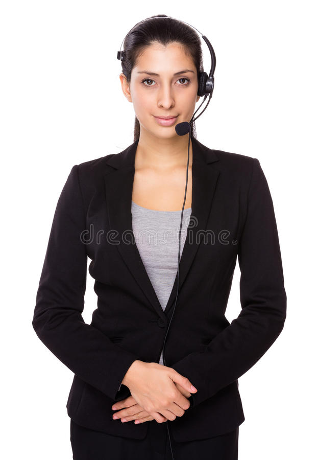 Customer services operator. Isolated on white background royalty free stock photography