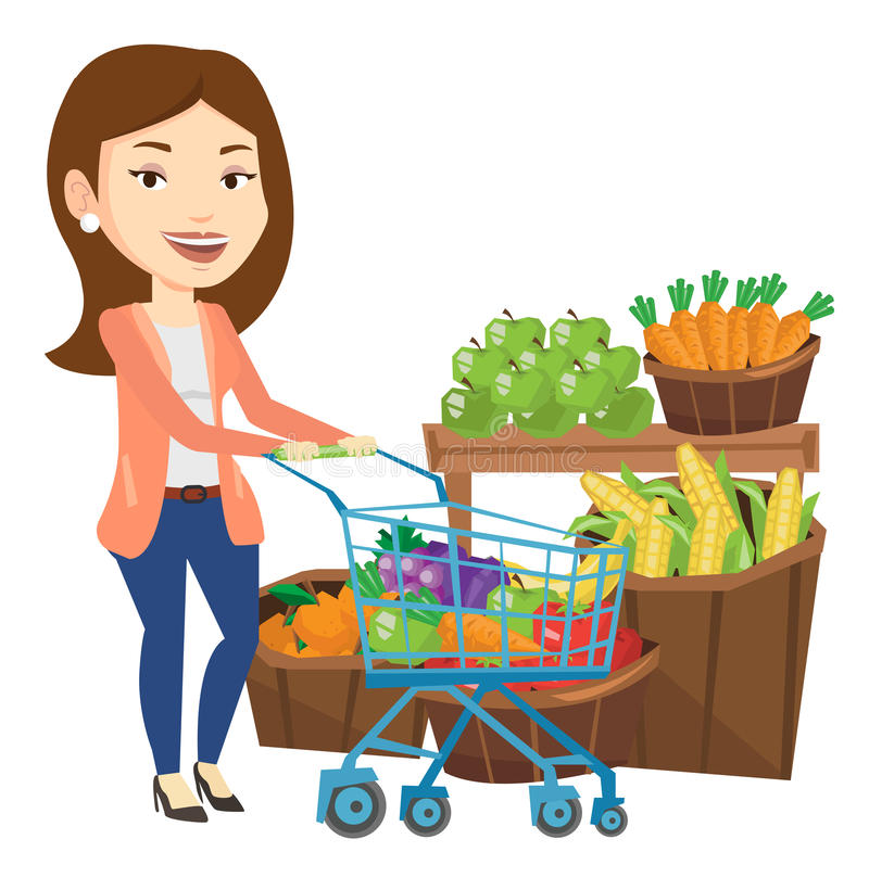 Customer with shopping cart vector illustration. vector illustration
