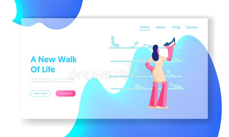 Customer Shopping Spare Time Website Landing Page. Young Woman Watching and Choose Shoes Standing on Shelves at Footgear Store vector illustration
