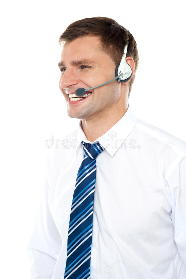 Customer support executive assisting clients stock images