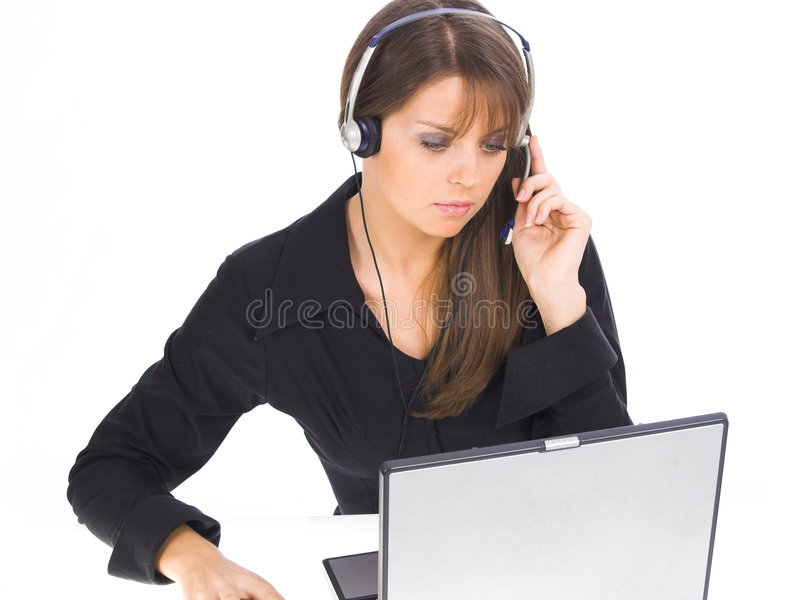 Customer Support Girl. Beautiful Customer Support Girl over white royalty free stock image