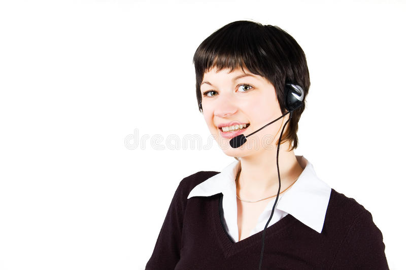 Customer support girl smiling in call center