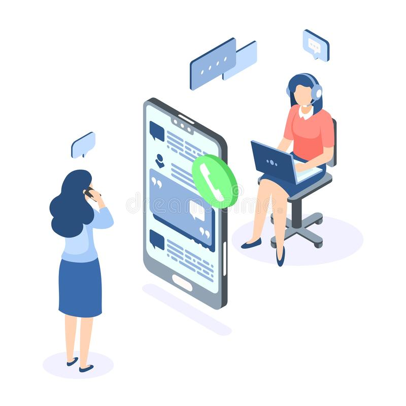 Customer support isometric concept. Call center help web banner. Online service help assistance. Vector illustration stock illustration