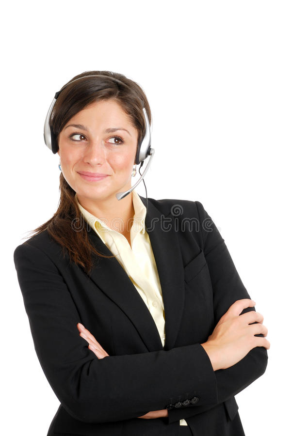 Customer support looking away stock photo